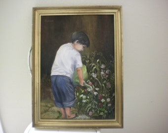 Young Boy Watering Flowers oil on board