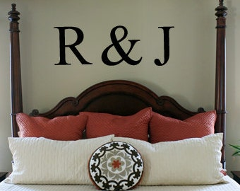 "Personalized Initials Vinyl Wall Decal - 22""H x 60""W"