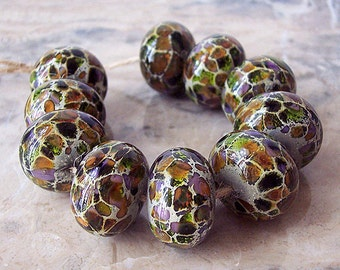 Handmade Lampwork Glass Beads  (2 pcs) - Silvered Ivory Rufous Green Purple 15-16 mm x 10-11  mm