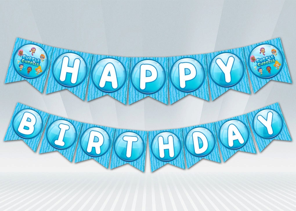 Bubble guppies birthday banner blue or pink - Bubble guppies birthday banner template ...