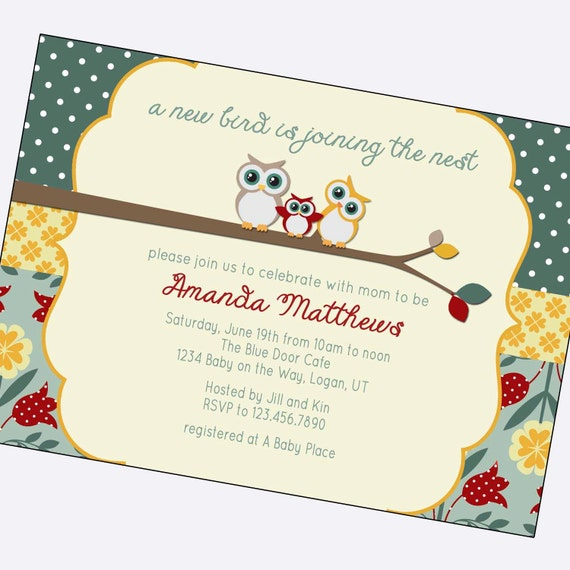 Vintage Owl Baby Shower Invitations: Items Similar To Owl Baby Girl Shower Invitations, Shabby