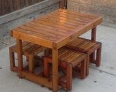 Beautiful handmade redwood kid's picnic furniture from Cali Planter Box Co.