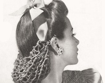 Ribbon Hair Snood, Vintage Crochet Pattern, INSTANT DOWNLOAD PDF