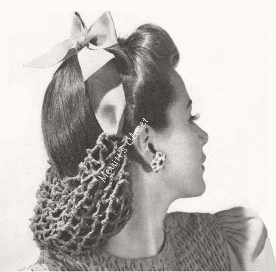 Crochet Hair Ribbon Pattern : Ribbon Hair Snood, Vintage Crochet Pattern, INSTANT DOWNLOAD PDF