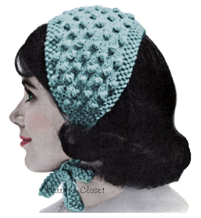 Knit Popcorn Stitch Hat Pattern : Popcorn Stitch Headband Vintage Knitting Pattern INSTANT