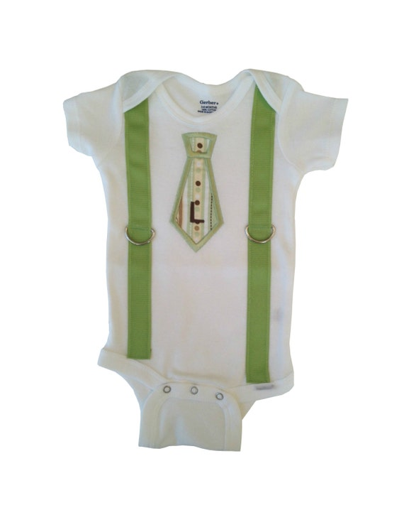 Baby Boy Tie Applique Onesie with Suspenders by ...