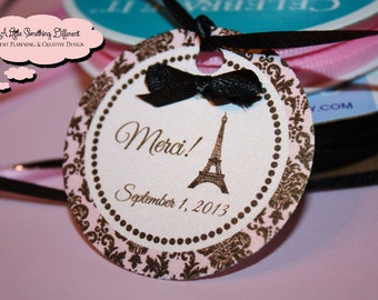 Pink and Black Damask Parisian Favor/Thank you Tags