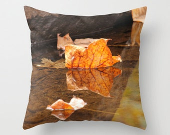 Fallen, Pillow Cover, 16x16, 18x18, 20x20, home decoration, interior design, yellow, orange, brown, reflection, water, Country, Farm, Rustic