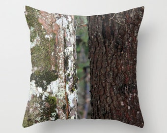 Black and White Tree, Pillow Cover, 16x16,18x18,20x20, home decoration, winter decor, interior design,brown, white, grey, winter,nature,bark