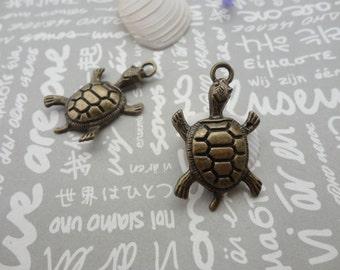 50pcs antique bronze color metal tortoise pendant , metal tortoise charm , 36X22mm , CP18