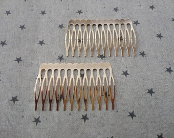 20pcs Gold Plated Metal Hair Combs (12 teeth) 64x38mm HA41