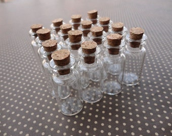 100pcs Mini glass bottles with corks 50x16mm--GF44