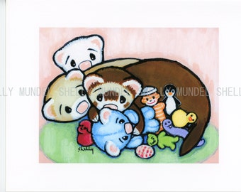 """Art by Shelly Mundel. Ferret People Collection """"""""""""TOY HOG""""""""""""...Super Cute !!!"""