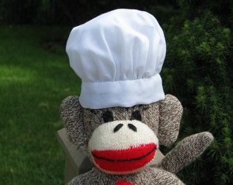 Sock Monkey White Baker's Hat Handmade Accessory BopBo the Monkey