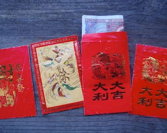 Vintage Chinese New Year Red Envelopes / Lunar New Year Red Packet Wedding Red Envelope set of 4