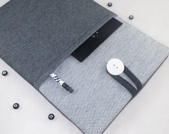 iPad Air Case, iPad Air Sleeve, iPad Cover, Custom Tablet Case,İpad Case Air Case, Padded With Pocket - Black White