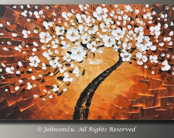 Original modern abstract landscape thick texture impasto palette knife white flowers tree blossom oil painting on 40x20 Canvas Ready to Hang