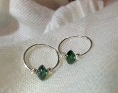 Sara - Sterling Silver medium hoop earrings - 18mm, green metallic lampwork center bead and Sterling Silver corrugated beads.  FREE SHIPPIN - SundariJewelry