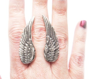 Large Sterling Silver Angel Wing Ring Made to Order