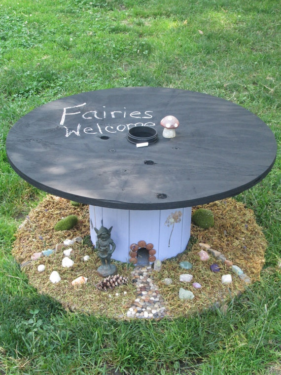 Items similar to upcycled cable spool custom chalkboard for Outdoor tables made out of wooden wire spools