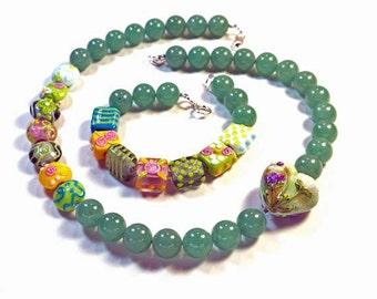 Set: Bracelet and Necklace with Aventurine, Handmade Lampwork, Swarovski Crystal, and Sterling Silver