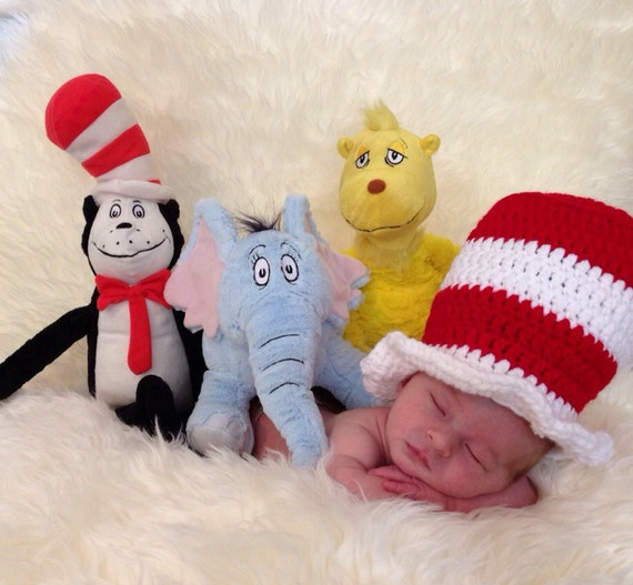 Newborn Crochet Cat Hat Pattern : Items similar to Dr seuss cat in the hat crochet newborn ...