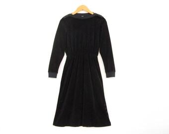 Velvet Velour Black Dress / Boat-neck Long Sleeve / S Small / 70s 80s
