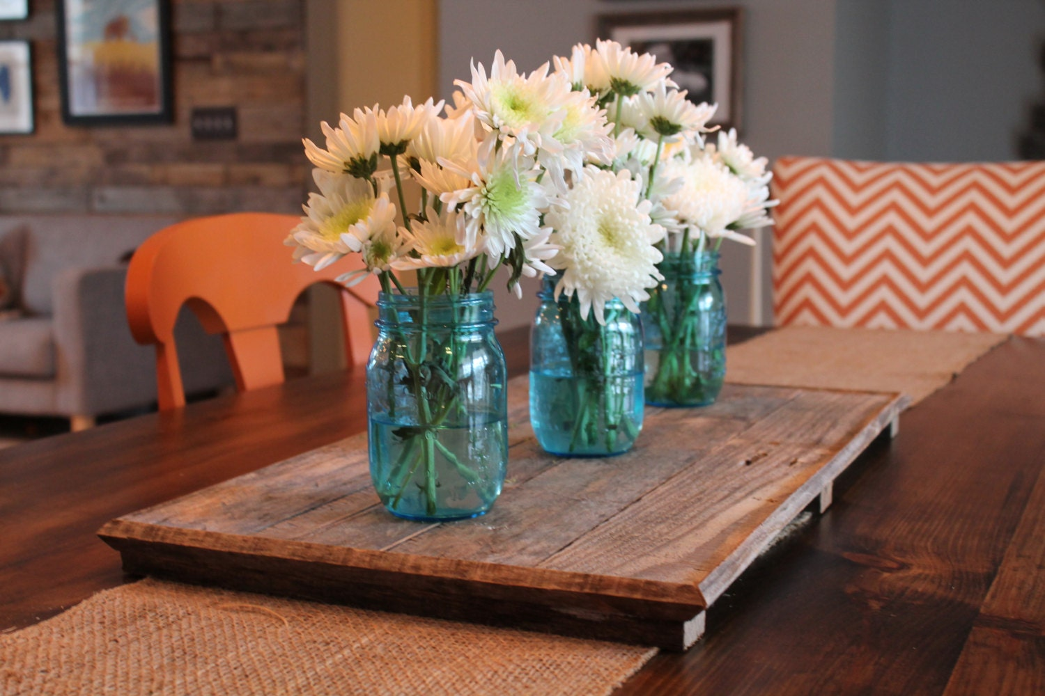 Pallet tray weathered wood centerpiece
