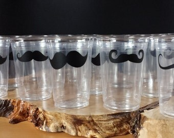 25 mustache 10 oz. 12 oz. or 16 oz. Cup with 5 mustache designs.Baby Shower,  Mustache Bash, Little Man Party,birthday.Disposable cups. B-47