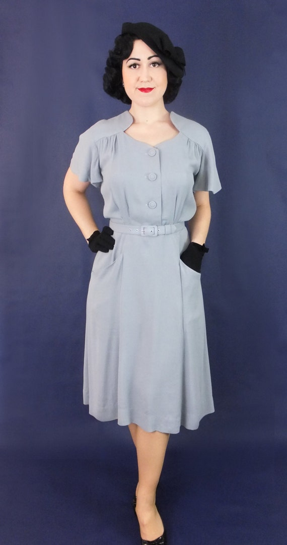 1930s Style Day Dresses 1930s 1940s rayon dress / Darla / Authentic vintage reproduction / Grey rayon crepe 30s 40s dress / XS S M L Xl / Made to order $261.66 AT vintagedancer.com