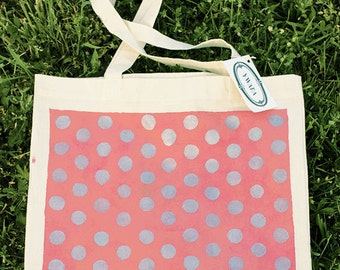 silver dots on pink tote bag