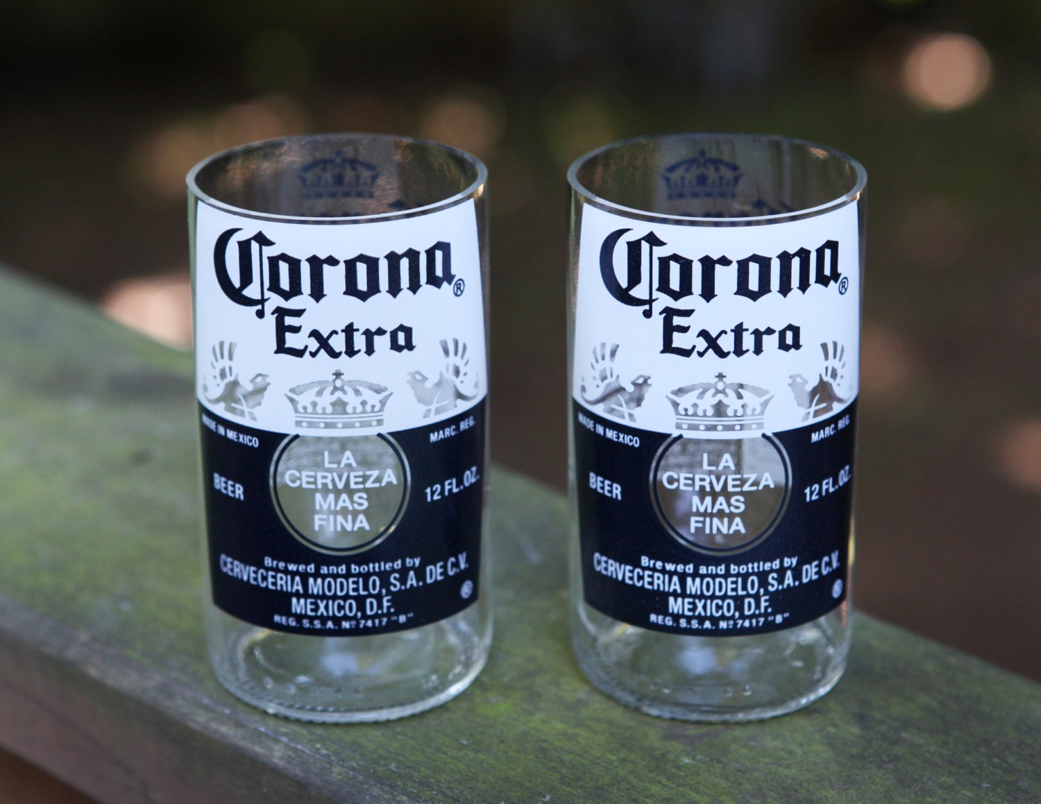 Corona extra drinking glasses upcycled from corona by for How to make corona glasses