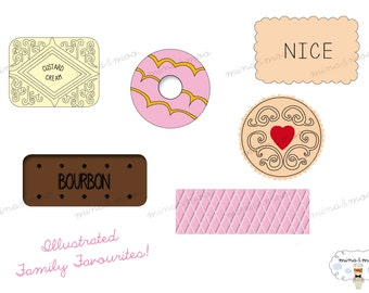 Digital Biscuit Clipart - Custard Cream Print - Biscuit Graphics - Jammy Dodger Print - Nice Biscuit - Tea and Biscuits - Pink Wafer Image