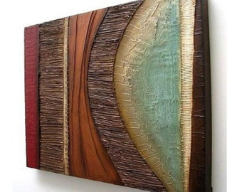 Abstract painting MODERN textured wall SCULPTURE art original acrylic painting wall hanging on canvas collage mixed media wall hanging