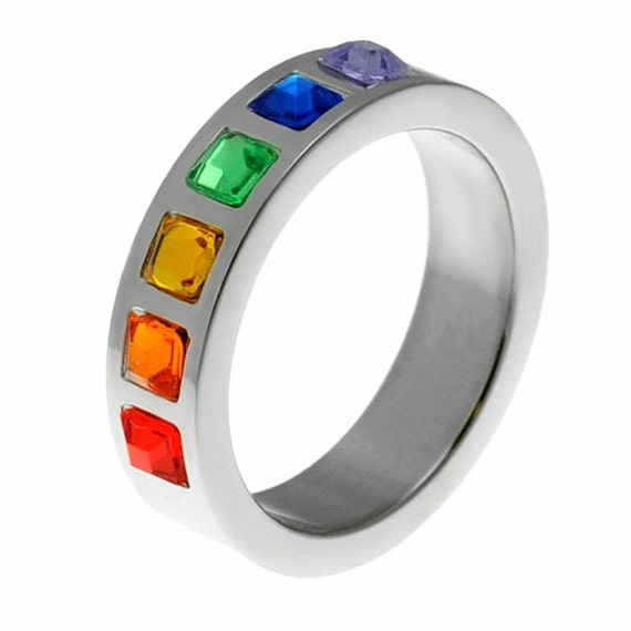 Rainbow Wedding Rings: Gay Pride Wedding Band Rainbow Ring Gay Pride By