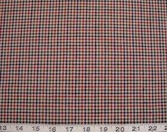 Fabri-Quilt, Tartan Plaid, Tan-Black-Red, Price per HALF Yard