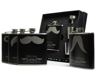 10, Personalized Groomsmen Gift Flask Sets, Mustache Flasks