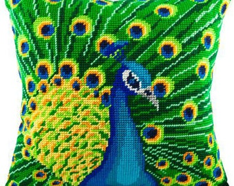 Peacock or Jasmine, or Roses, or Tulips pillowcase cross-stitch DIY embroidery kit