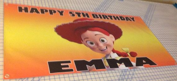 Personalized birthday banner - 4ft x 2ft - Toy Story, Woody, Buzz Lightyear, Jessie