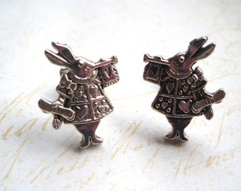 Alice in Wonderland Rabbit Stud Earrings, Bunny, Cute, Silver, Retro, Bunny, Animal