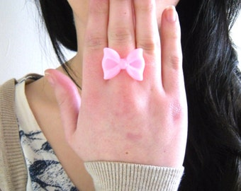 Cute Kawaii Pink Resin Bow Cabochon Ring, Kitsch, Retro, Quirky, Barbie, Girly, Girlie