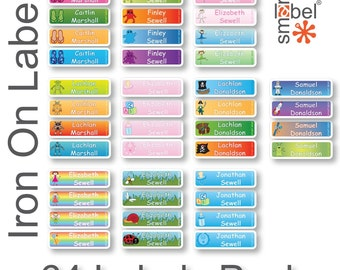 Personalised iron on clothing name labels stickers
