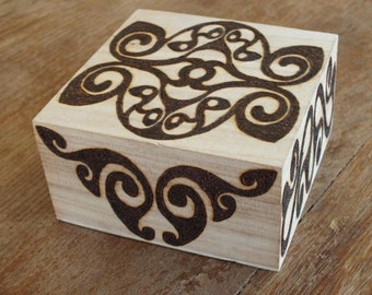 Wooden trinket box with Celtic La Tene Sheep design - birthday gift, friend gift, engagement ring box, personalised gift