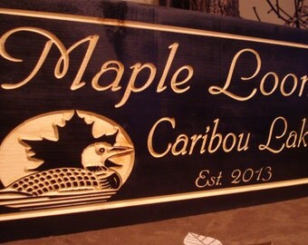Family Lake House Black Signs Last Name Welcome Signs Maple leaf Loons Ducks Wood carved wooden Sign Wooden Carved Cabin Cottage Signs