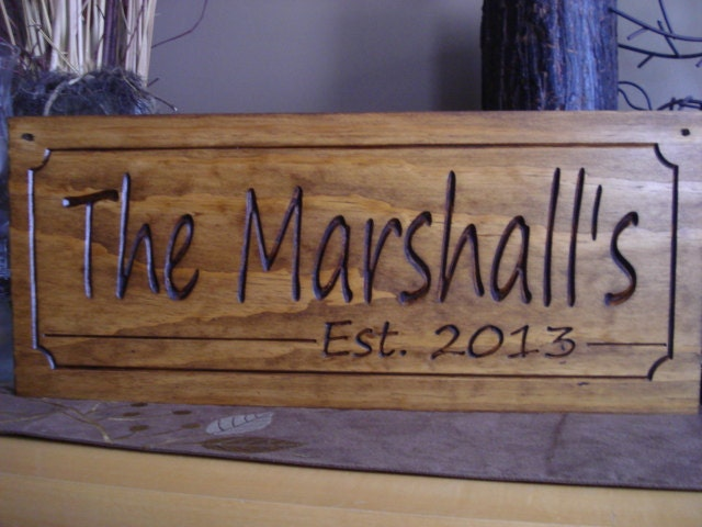 Personalized Carved Last Name Plaques Wood Signs Rustic Carved