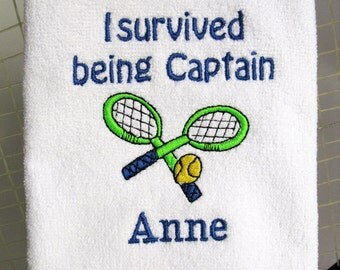"Tennis Towel - Tennis Captain Gift - Personalized Tennis Towel - Tennis Towel - ""Captain Survived"" #123"