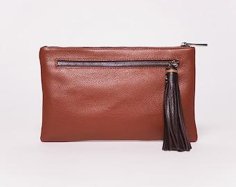 Hand Bag  Quick clutch/ full grain leather caramel # 71/ leather tassel chocolate # 62