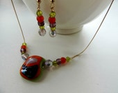 green orange fused glass necklace and earrings,jewelry set,glass necklace and earrings,glass beads earrings,gift for her,handmade jewelry - Homeforglasslovers