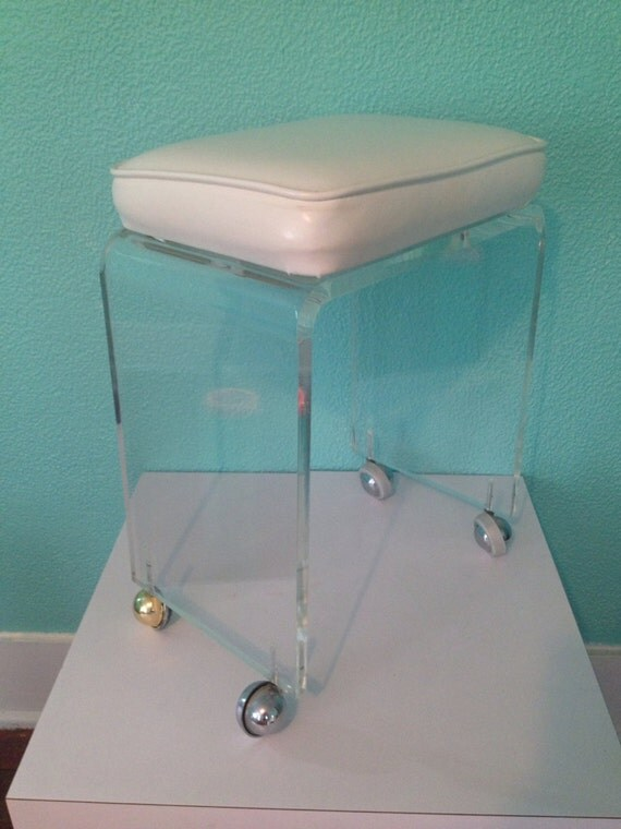 RESERVED Rona Vintage Lucite Stool Seat Vanity by Maison20th