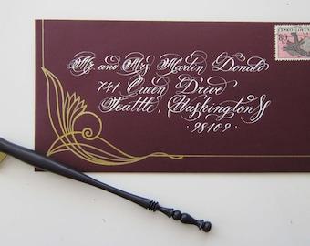 Illustrated Addressing Calligraphy Wedding Envelope